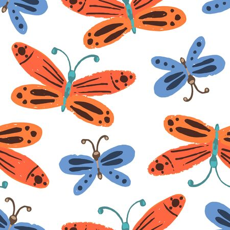 Cute seamless pattern with colorful childish red and blue butterflies. Naive floral texture with bright orange and indigo moth insects for kids textile, wrapping paper, background, surface, wallpaper