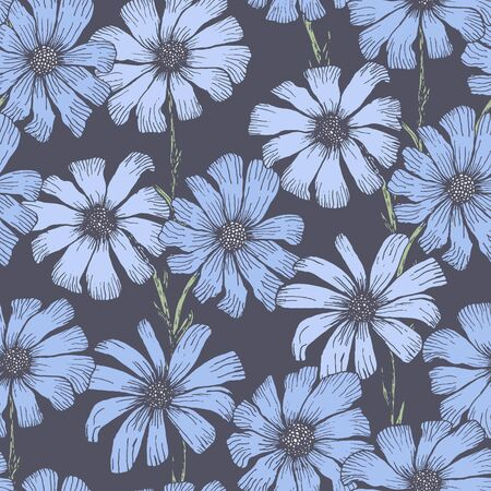 Pale night blue seamless pattern with delicate chamomile flowers. Vintage hand drawn illustration of beautiful daisy flower, texture for textile, wrapping paper, surface, background