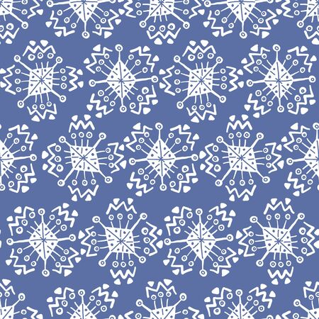 Hand drawn blue seamless pattern with cute white snowflakes. Abstract Christmas snowy pattern for New Year design, wallpaper, textile, wrapping paper