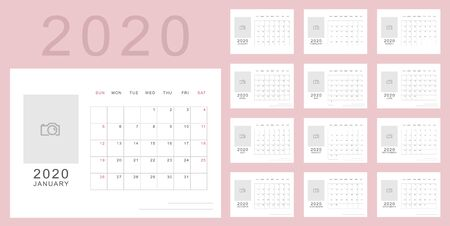 Simple minimalistic calendar of new 2020 year in light pink colors with place for photo. Week starts in Sunday, twelve month calendar. Work and holiday events planner, block-almanac template  イラスト・ベクター素材