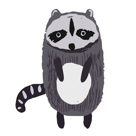 Cute childish hand drawn striped gray and black raccoon illustration isolated on white background. Kids sketchy forest coon character for print design, stickers, background decoration