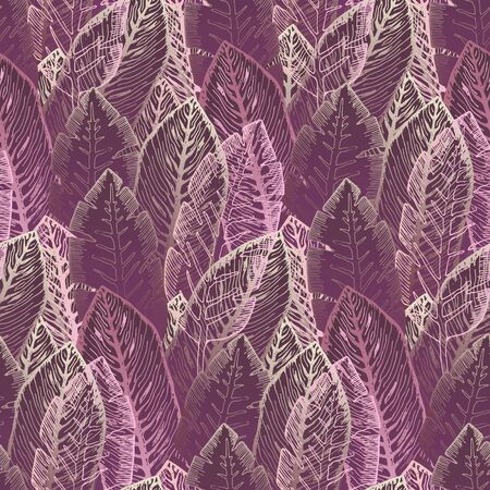 Mysterious seamless pattern with overlay outline golden and dark pink and red tropical leaves. Trendy magenta exotic plants texture for textile, wrapping paper, surface, wallpaper, background