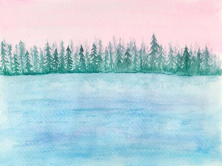 Tender watercolor landscape with blue lake or sea calm water and fir trees in pink sunrise lights. Delicate watercolour nature illustration for travel, tourism banner design