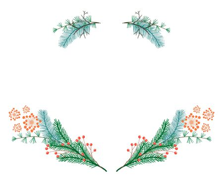 Cute Christmas wreath with green branches, twigs and red berries. Bright holiday frame illustration isolated on white background for New Year decoration, greeting cards design