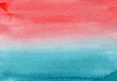 Horizontal gradient from blue to coral pink watercolor background, wash technique. Bright sunset sky and water watercolour textured concept for software, ui design, web, apps wallpaper, banner