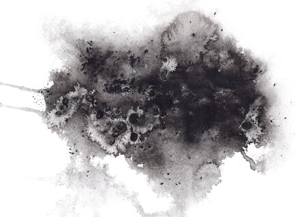 Abstract expressive textured black ink or watercolor stain. Mysterious dynamic isolated inky blob, dark thunderous cloud concept for texture, black friday banner design 写真素材