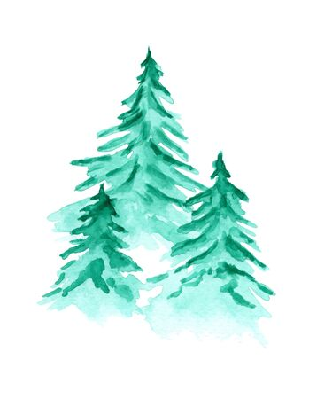 Beautiful watercolor background with green coniferous fir forest. Mysterious pine trees illustration for winter Christmas design, isolated on white background
