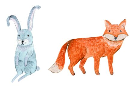 Cute watercolor orange fox and blue hare illustration. Funny hand drawn watercolour forest animals for kids card and print design, wallpaper decor, textile, stickers 写真素材