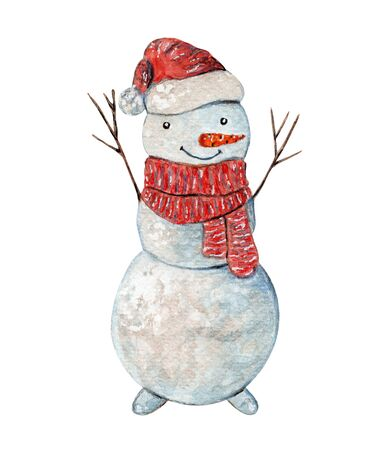 Cute watercolor cheerful Snowman in striped red scarf and Christmas hat. Childish cartoon watercolour New Year illustration for greeting card, banner, sticker design