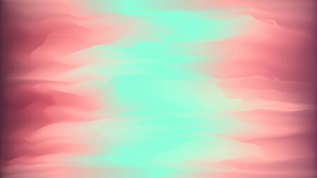Abstract bright wavy background in dark red and mint colors. Concept of aurora borealis, sky and sunset lights for web design, banner  イラスト・ベクター素材