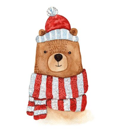 Cute watercolor brown bear in striped glittering blue red scarf and Christmas hat. Childish cartoon New Year illustration with cheerful animal for greeting card design, banner, sticker,