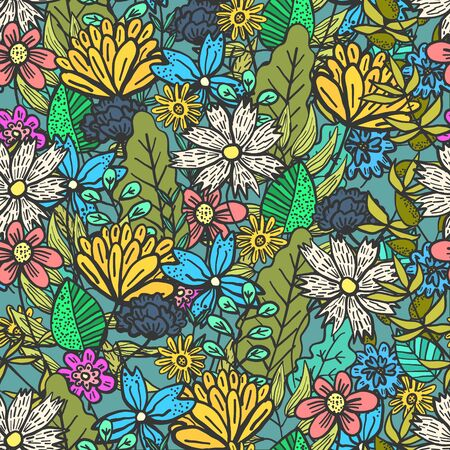 Bright green doodle floral seamless pattern with mess of color flowers and leaves. Childish summer texture with blossoms and herbs bouquet for textile, wrapping paper, background, surface, wallpaper 向量圖像