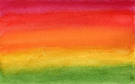 Horizontal gradient from red to green watercolor background, wash technique. Bright summer sunrise and greenery watercolour textured concept, illustration for nature banner, surface design 写真素材