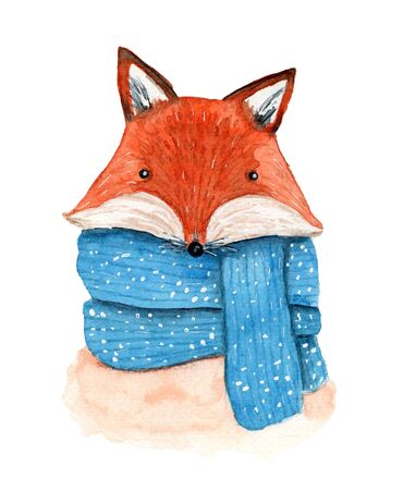 Cute watercolor winter orange fox in striped and snowy blue scarf. Childish cartoon New Year illustration with cheerful animal for greeting card design, banner, sticker, Christmas decoration