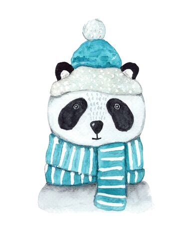 Cute watercolor winter white and black panda in striped and snowy blue scarf and Christmas hat. Childish New Year illustration with asian animal for greeting card design, banner, sticker, decoration