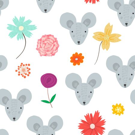 Cute seamless pattern with cartoon gray mouse heads and doodle childish flowers. Funny summer hand drawn rats and blossoms texture for kids design, wallpaper, textile, wrapping paper  イラスト・ベクター素材