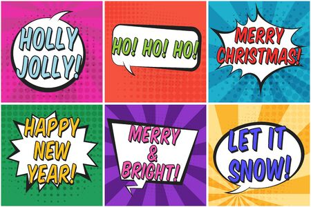 Bright colorful square christmas retro speech bubbles set. Color message balloons with halftone shadow and stripes in pop art style for winter holiday stickers, happy new year greeting, design  イラスト・ベクター素材