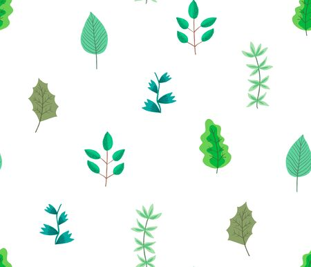 Cute botanical seamless pattern with cartoon bright green leaves and branches on white background. Lovely floral texture with herbs for textile, wrapping paper, surface, wallpaper Çizim