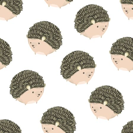Cute seamless pattern with hand drawn little rounded brown smiling hedgehogs on white background. Funny summer hand drawn forest animals texture for kids design, wallpaper, textile, wrapping paper Vecteurs