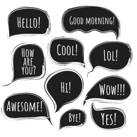 Stylish black vector speech comic bubbles with lined ragged edges.