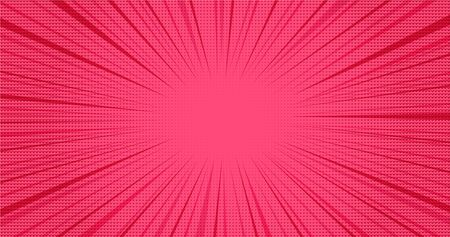 Bright pink retro comic speech background with halftone hearts effect. Lovely red texture with heart shapes shadow and stripes in pop art style for St. Valentines day greeting cards design, banner Ilustrace