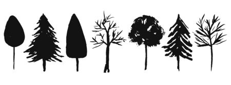 Collection of vector black hand drawn ink trees silhouettes. Forest birch, oak, fir, spruce tree symbols for nature design, stickers, textile pattern decor