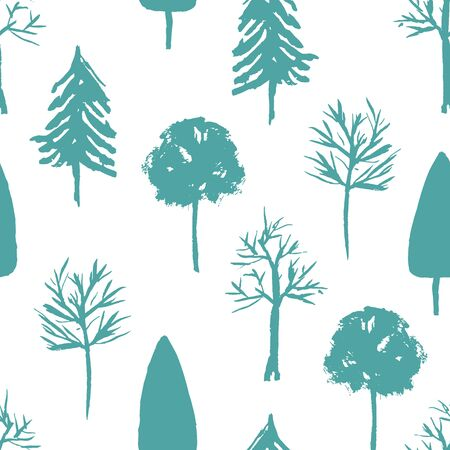 Pale blue and green seamless pattern with hand drawn taiga trees silhouettes. Monochrome mint texture with firs, birch and oak for textile, wrapping paper, surface, wallpaper, background