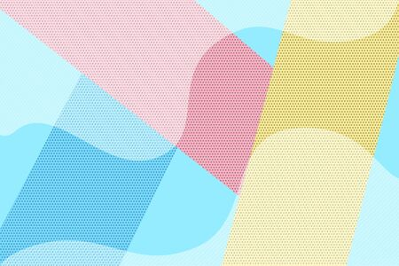 Hipster geometric halftone dotted and striped retro comic background. Bright blue, pink and yellow pop art banner with white stripes and dark dots for design