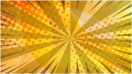 Abstract orange and yellow colors retro comic technology background. Elegant round warm colours gradient shapes texture with stripes and half tone for software design, web, apps wallpaper