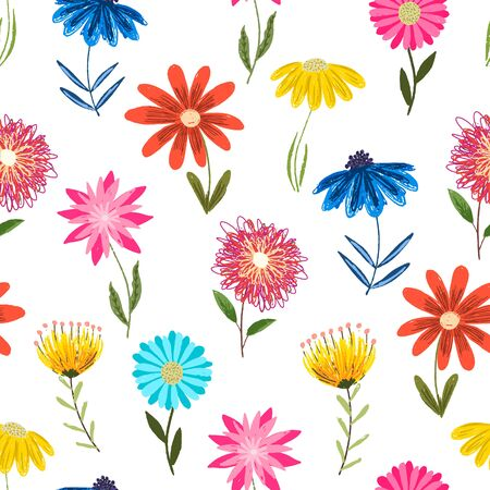 Cute childish sketchy seamless pattern with yellow, pink and blue color flowers on white background. Colorful floral texture with bright blossoms for kids textile, wrapping paper, surface, wallpaper Vector Illustration