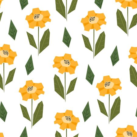 Bright seamless pattern with cute simple yellow and orange sunflowers in scandinavian style. Abstract nordic floral texture for textile, wrapping paper, background, package, surface design