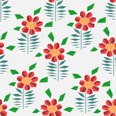 Bright seamless pattern with cute simple red and orange gerbera flowers in scandinavian style. Abstract nordic floral texture for textile, wrapping paper, background, package, surface design