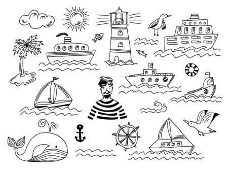 Collection of isolated black outline doodle marine transport with waves, lighthouse, seagull, whale and sailor man. Set of cute hand drawn sea objects for emblem design, coloring books and apps, logo Vectores
