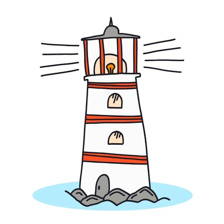 Vector isolated black outline doodle sketchy lighthouse icon. Cute hand drawn sketch of light house for emblem design, kids books and apps, logo, sticker