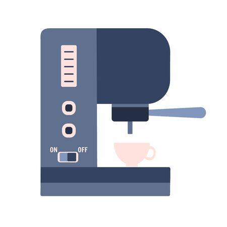 Flat vector pressure coffee machine with buttons, press and cup, kitchen appliance. Cute blue and pink colors espresso or latte maker symbol for cafe, restaurant, home, logo design Vectores