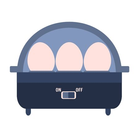 Flat vector electric egg boiler icon. Cute blue and pink kitchen appliance, eggs cooker symbol for healthy breakfast logo design, recipe decoration Ilustração