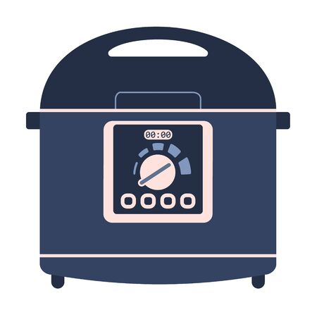 Icône de machine multicuiseur de vecteur plat, mijoteuse. Appareil de cuisine vectoriel bleu et rose mignon, équipement de cuisine avec écran et boutons pour la conception de logo pour une alimentation saine, décoration de recette