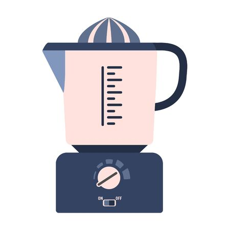 Flat vector citrus juicer icon, juice squeezer. Cute blue and pink kitchen appliance, cooking equipment with display and buttons for healthy eating logo design, recipe decoration