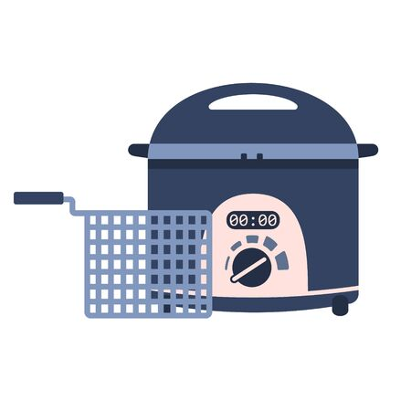Flat vector electric home potato fryer icon with basket, chip pan. Cute blue and pink kitchen appliance, deep frying machine for logo design