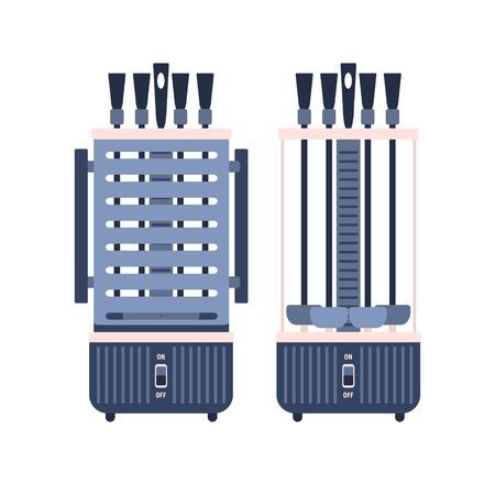 Vertical home BBQ grill, electric shashlik and kebab maker. Cute blue and pink vector kitchen appliance, cooking equipment with buttons for healthy eating logo design, recipe decoration