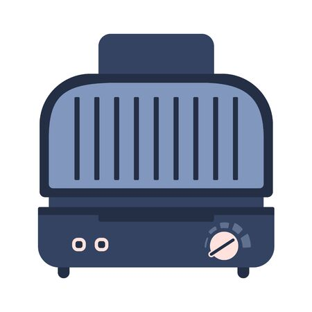 Electric compact grill and sandwich press icon. Cute blue and pink flat vector kitchen appliance, cooking equipment with buttons for healthy eating logo design, recipe decoration Vectores
