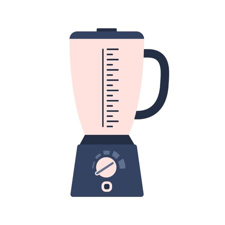 Flat electric blender icon, liquidizer symbol. Cute blue and pink vector kitchen appliance, cooking mixer equipment with buttons for healthy eating logo design, recipe decoration