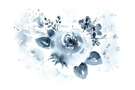 Delicate watercolor monochrome indigo blue floral roses bouquet. Tender painting flowers composition with leaves and blossoms for invitation, wedding or greeting cards design, sticker, banner decor