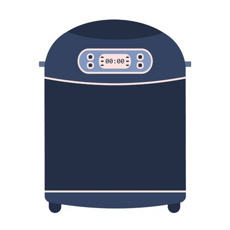 Flat vector home bread maker machine icon. Cute blue and pink vector kitchen appliance, automatic bakery equipment with display and buttons for bakery logo design, recipe decoration