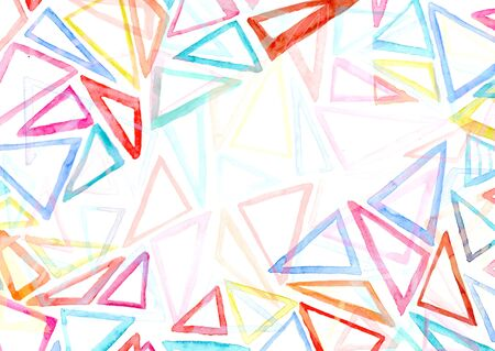 Abstract background with bright painting colorful watercolor triangles. Cute watercolour decorating illustration for banner design, greeting card