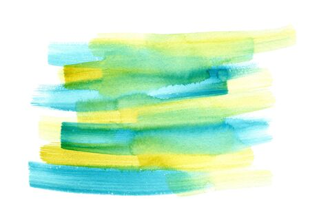 Abstract bright yellow and blue watercolor expressive vibrant brush strokes background. Modern textured gradient watercolour shape for banner design, greeting cards, advertising decor, surface Foto de archivo