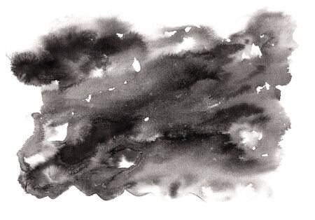 Abstract expressive textured horizontal black ink or watercolor stain.