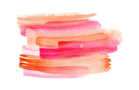 Abstract bright pink, red and orange watercolor expressive vibrant brush strokes background. Modern textured gradient watercolour shape for banner design, greeting cards, advertising decor, surface