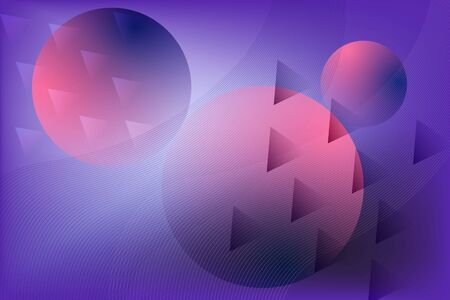 Abstract vibrant blue, purple and pink background with geometric shapes composition. Modern wallpaper with gradient circles and triangles for ui design, web, apps wallpaper, banner