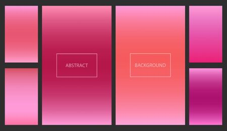 Bright red, orange and pink gradients for smartphone screen backgrounds. Set of soft deep magenta and coral color vibrant wallpaper for mobile technology apps, ui design